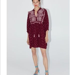New Zara embroidered dress with fringe